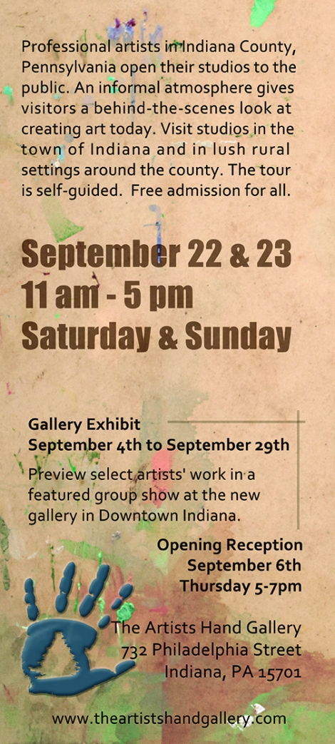 Sept 2012: Professional artists in Indiana County, Pennsylvania open their studio to the public. An informal atmosphere gives visitors a behind-the-scenes look at creating art today. Visit studios in the town of Indiana and in the lush rural settings around the country. the tour is self-guided. Free admission for all.