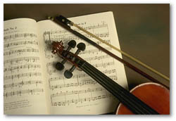 Violin, Bow and Sheet Music