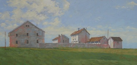 Painting by H.K. MILLER. Are You Saved, Eastern, PA, oil on linen, 12x24