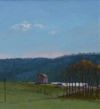 Artists H.K. MILLER.  PA Pasture, State College, PA, oil on linen, 6.5x6